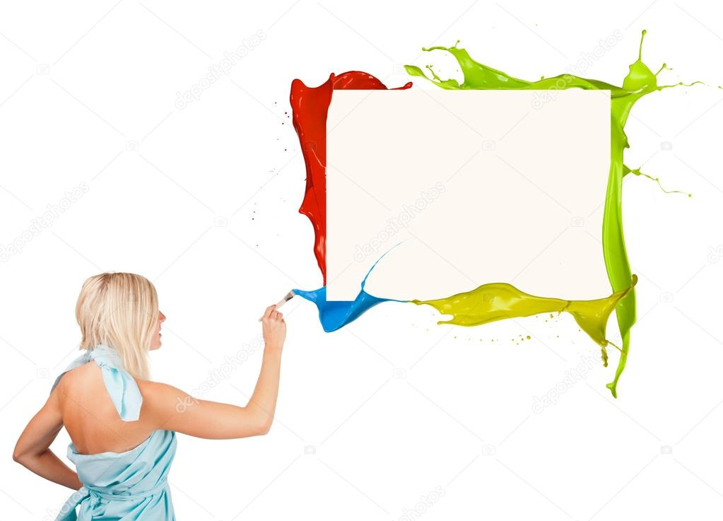 Beautiful paintress painting colored splashes frame, isolated on white background — Stock Photo #12975921