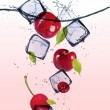 Fresh cherries with ice cubes — Stock Photo