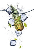 Pine-apple with ice cubes — Stock Photo