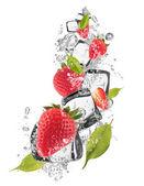 Fresas de hielo sobre fondo blanco — Foto de Stock