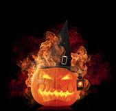 Burning pumpkin — Стоковое фото