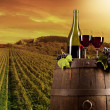 Wine with vineyard on background — Foto de stock #34128501