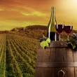 Foto de Stock  : Wine with vineyard on background