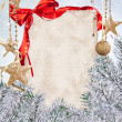Christmas background with blank paper — Stock Photo