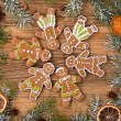 Gingerbread with fir tree braches — Stock Photo