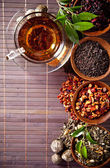 Various dry tea in small bowls — Stock Photo