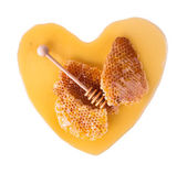 Honey heart, isolated on white background — Stock Photo