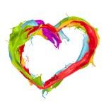 Colored splashes heart — Stock Photo