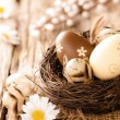 Easter eggs on wooden surface — Stock Photo