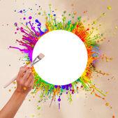 Spruzzi di vernice colorata a forma rotonda — Foto Stock