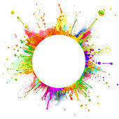 Colored paint splashes in round shape — Stock Photo