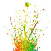 Colored paint splashes on white background — Stock Photo