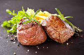 Fresh beef steaks with grilled vegetable — Stock Photo