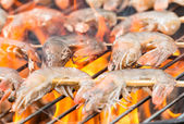 Fresh meal on grill — Stock Photo