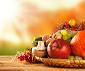 Autumn harvested fruit and vegetable on wood — Stock Photo