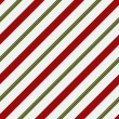Red, Green and White Striped Fabric Background — Stockfoto