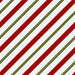 Red, Green and White Striped Fabric Background — Stock Photo