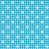 Blau karierte stoff mit blumen hintergrund — Stockfoto