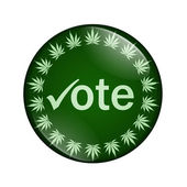 Vote to legalize marijuana button — Stock Photo