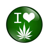 I love marijuana button — Stock Photo