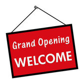 Grand Opening Welcome Sign — Stock Photo
