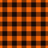 Orange and Black Plaid Fabric Background — ストック写真
