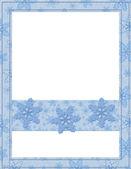 あなたのメッセージや招待状の青と白のスノーフレーク フレーム — ストック写真