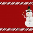 Candy Cane with Snowman Frame for your message or invitation — Stock Photo #13913910