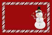 Candy Cane with Snowman Frame for your message or invitation — Stock Photo
