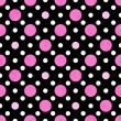 Stock Photo: Pink, White and Black PolkDot Fabric Background