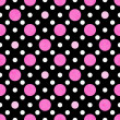 Pink, White and Black Polka Dot Fabric Background — Stockfoto