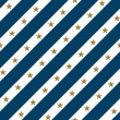 Stock Photo: Blue and White Striped Fabric Background with Gold Stars