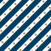Blue and White Striped Fabric Background with Gold Stars — Stock Photo