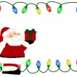 Christmas Light Background with Santa for your message or invita - Stock Photo
