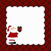Christmas Plaid Background with Santa for your message or invita — Stock Photo