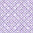 Stock Photo: Purple Gingham with Flowers Fabric Background