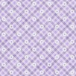 ストック写真: Purple Gingham with Flowers Fabric Background
