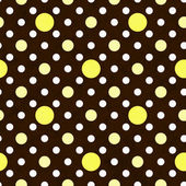 Yellow, White and Brown Polka Dot Fabric Background — Stock Photo