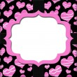 Retro Pink and Black Heart-shaped with Ribbon Background for you - Stock Photo