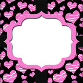 Retro Pink and Black Heart-shaped with Ribbon Background for you — Foto Stock
