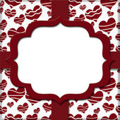 Retro Red Heart-shaped with Ribbon Background for your message o — Stock Photo