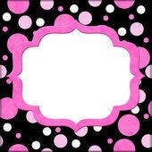 Polka dot pembe ve siyah arka plan iletisi veya invitati için — Stok fotoğraf