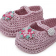Pink Hand-made baby booties — Stock Photo