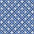 Navy Blue Gingham with Flowers Fabric Background — Stock Photo