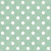 Green and White Polka Dot Fabric Background — Stock Photo