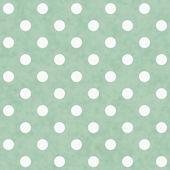 Fond de tissu à pois vert et blanc — Photo