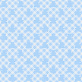 Light blue Gingham Fabric with Teddy Bears Background — Stock Photo