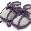 Purple and White Hand-made baby booties — Stock Photo