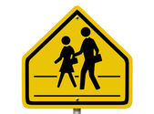 School Crosswalk Warning Sign — Stock fotografie