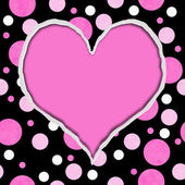 Pink and Black Polka Dot Torn Background for your message or inv — Stock fotografie